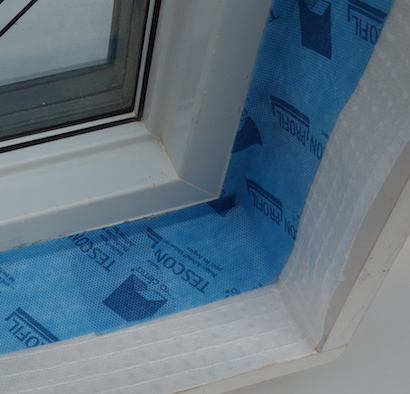 TESCON Profil with split backing for ease of installation at tight inside corners.